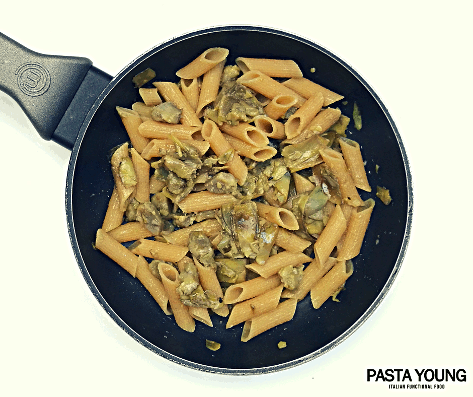 High Protein pasta con carciofi