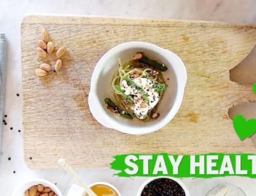 High protein spaghetti Asparagi, ricotta light e mandorle